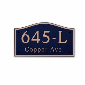 Large Wall Mount Horizontal Address Plaque Copper Black - 645L