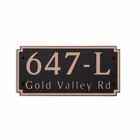 Large Wall or Rock Horizontal Address Plaque Copper Black