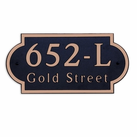 Large Wall or Rock Horizontal Address Plaque Copper Black - Rounded