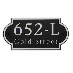 Large Wall or Rock Horizontal Address Plaque Nickel Black - Rounded