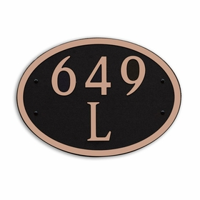 Large Wall or Rock Oval Address Plaque Copper Black