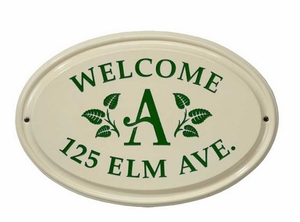 Whitehall Leaf Monogram Ceramic Oval - Standard Three Line Wall Plaque - Green