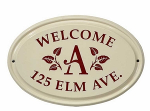 Whitehall Leaf Monogram Ceramic Oval - Standard Three Line Wall Plaque - Red