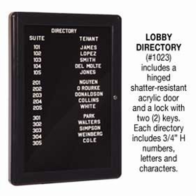 Salsbury 1023 Lobby Directory Black Finish