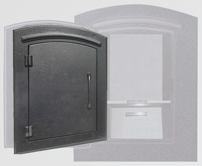Manchester Security Locking Column Mount Mailbox with Plain Door in Black (Stucco Column Not Included)
