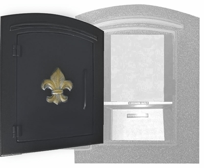 Manchester Security Locking Column Mount Mailbox with Fleur de Lis Emblem in Black (Stucco Column Not Included)