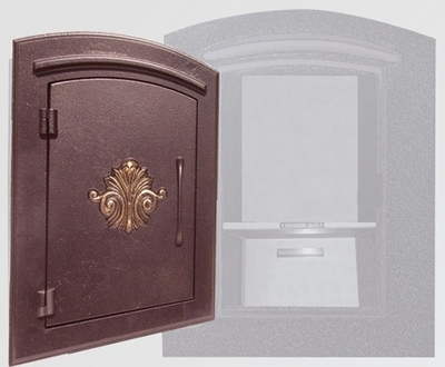 Manchester Security Locking Column Mount Mailbox with Scroll Emblem in Antique Copper (Stucco Column Not Included)