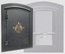 Manchester Security Locking Column Mount Mailbox with Scroll Emblem in Black (Stucco Column Not Included)