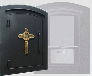 Manchester Security Locking Column Mount Mailbox with Decorative Cross Emblem in Black (Stucco Column Not Included)