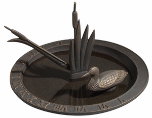 Whitehall Loon Sundial Birdbath - Oil Rub Bronze