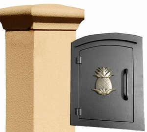 Manchester Security Locking Stucco Column Mailbox with Pineapple Emblem - Stucco Column Included (Choose Colors)