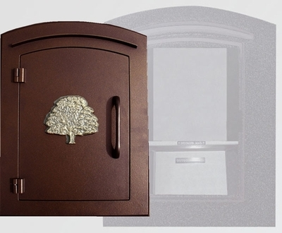 Manchester Security Locking Column Mount Mailbox with Decorative Oak Tree Emblem in Antique Copper (Stucco Column Not Included)