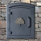 Manchester Security Locking Column Mount Mailbox with Decorative Oak Tree Emblem in Black (Stucco Column Not Included)