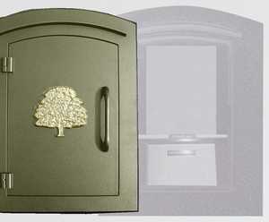 Manchester Security Locking Column Mount Mailbox with Decorative Oak Tree Emblem in Bronze (Stucco Column Not Included)