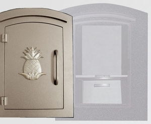 Manchester Security Locking Column Mount Mailbox with Decorative Pineapple Emblem in Bronze (Stucco Column Not Included)