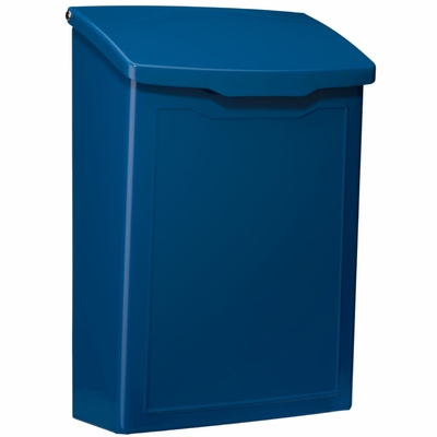 Marina Powder-Coated Steel Wall-Mount Mailbox in Blue