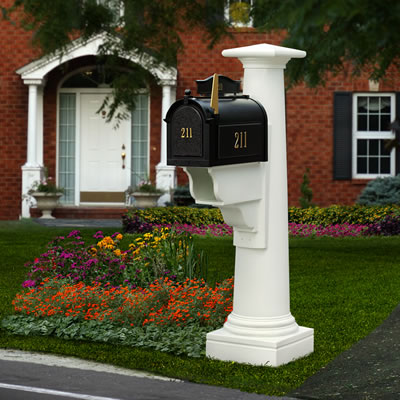 White Statesville Post and Mailbox Package
