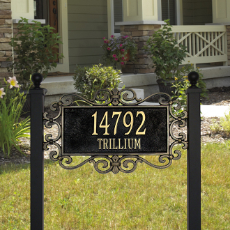 Mears Fretwork - Estate Lawn Address Sign - Two Line
