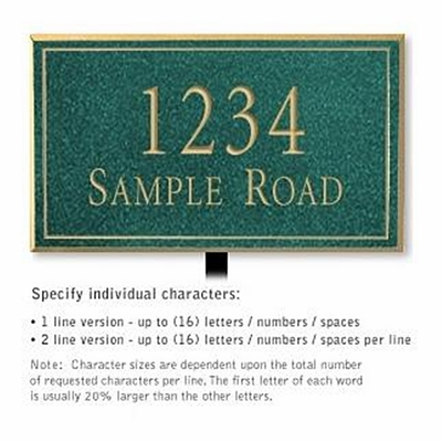 Salsbury 1410JGNL Signature Series Address Plaque