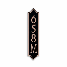 Medium Vertical Wall Mount Address Plaque Copper Black - Pointed