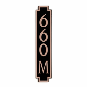 Medium Vertical Wall Mount Address Plaque Copper Black