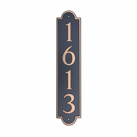 Medium Vertical Wall Mount Address Plaque Copper Black - Rounded