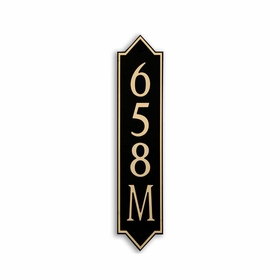 Medium Vertical Wall Mount Address Plaque Gold Black - Pointed