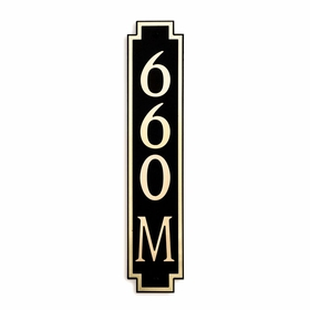 Medium Vertical Wall Mount Address Plaque Gold Black