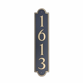 Medium Vertical Wall Mount Address Plaque Gold Black - Rounded