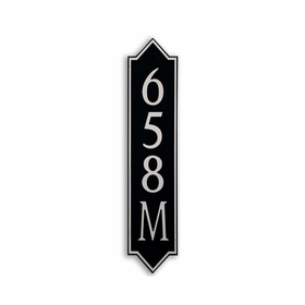Medium Vertical Wall Mount Address Plaque Nickel Black - Pointed