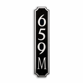 Medium Vertical Wall Mount Address Plaque Nickel Black - Square
