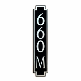 Medium Vertical Wall Mount Address Plaque Nickel Black