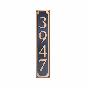 Medium Wall Mount Rectangular Vertical Address Plaque Copper Black