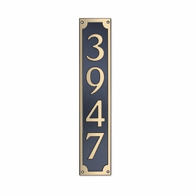 Medium Wall Mount Rectangular Vertical Address Plaque Gold Black