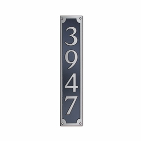 Medium Wall Mount Rectangular Vertical Address Plaque Nickel Black