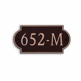 Medium Wall or Rock Horizontal Address Plaque Copper Black - Rounded
