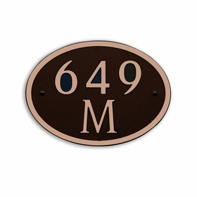Medium Wall or Rock Oval Address Plaque Copper Black