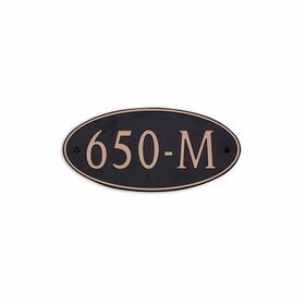 Medium Wall or Rock Oval Address Plaque Copper Black - Rounded