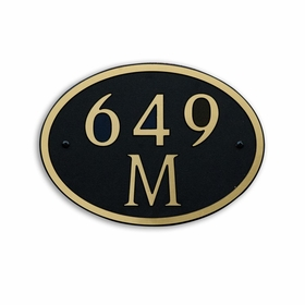 Medium Wall or Rock Oval Address Plaque Gold Black