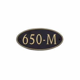 Medium Wall or Rock Oval Address Plaque Gold Black - Rounded