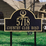 Monogram Golf Arch - Standard Lawn Address Sign - Three Line