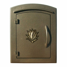 Manchester Security Locking Column Mount Mailbox with Decorative Agave Emblem in Bronze (Stucco Column Not Included)