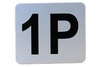Number Plate: Metal Adhesive w/ Black Numbering - Labeled 1P