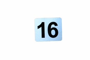 Number Plate: Metal Adhesive w/ Black Numbering (Specify # Required 1-16)