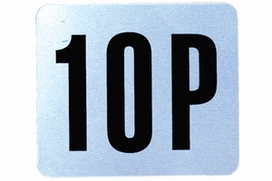 Number Plate: Metal Adhesive w/ Black Numbering (Specify # Required 3P - 99P)
