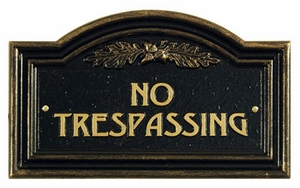 Whitehall Oak Leaf No Trespassing Plaque - Wall - Black/Gold