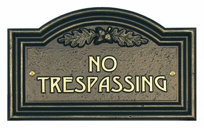 Whitehall Oak Leaf No Trespassing Plaque - Wall - Bronze/gold