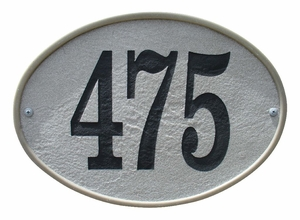 Oakfield Oval Crushed Stone Address Plaque in Slate Color