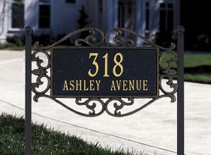 Lewis Fretwork - Standard Lawn Address Sign - Two Line