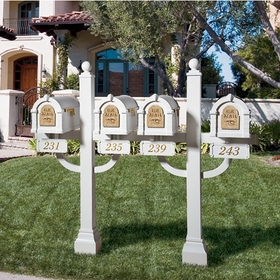 Keystone Series Quad Deluxe Multi-Mount Mailbox Post - Inner Positioned (Mailboxes not included)